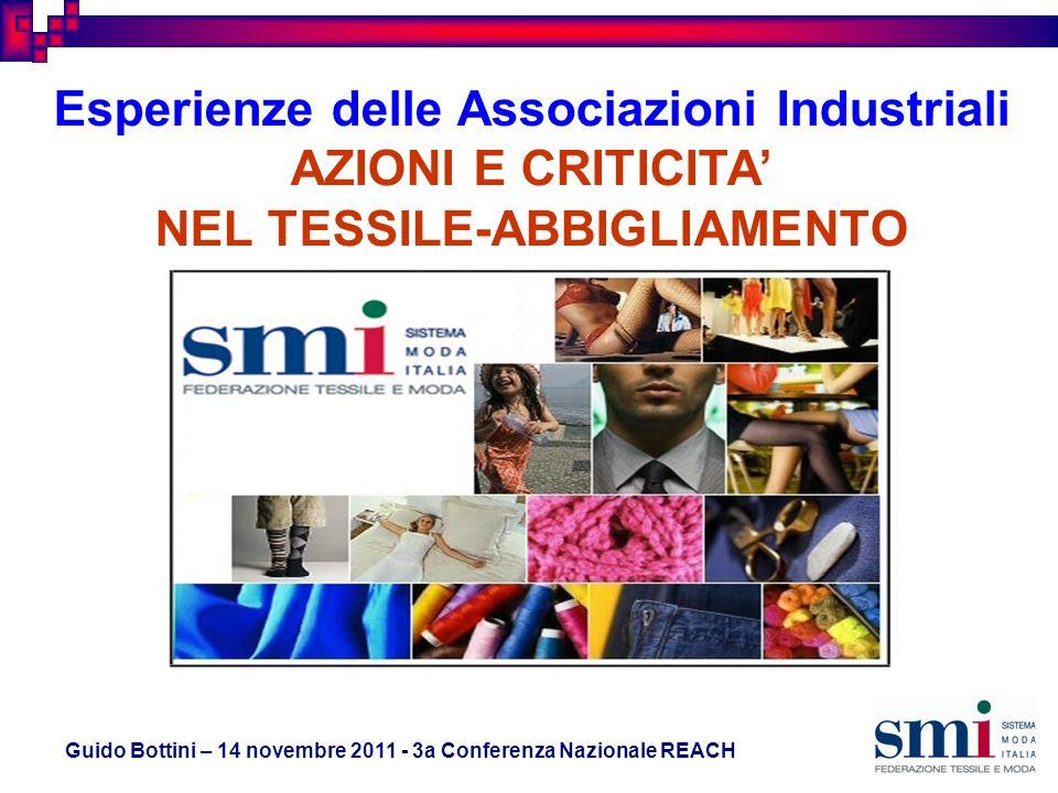 Guido Bottini – 14 novembre 2011 - 3a Conferenza Nazionale REACH Esperienze delle Associazioni Industriali AZIONI E CRITICITA NEL TESSILE-ABBIGLIAMENTO