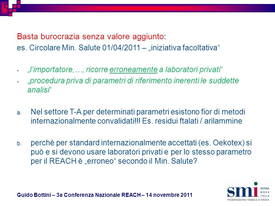 Guido Bottini – 3a Conferenza Nazionale REACH – 14 novembre 2011 Basta burocrazia senza valore aggiunto: es.