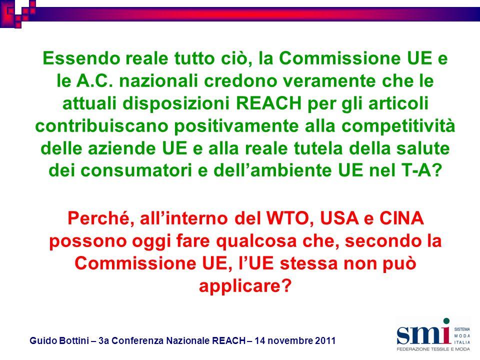 Guido Bottini – 3a Conferenza Nazionale REACH – 14 novembre 2011 Essendo reale tutto ciò, la Commissione UE e le A.C.