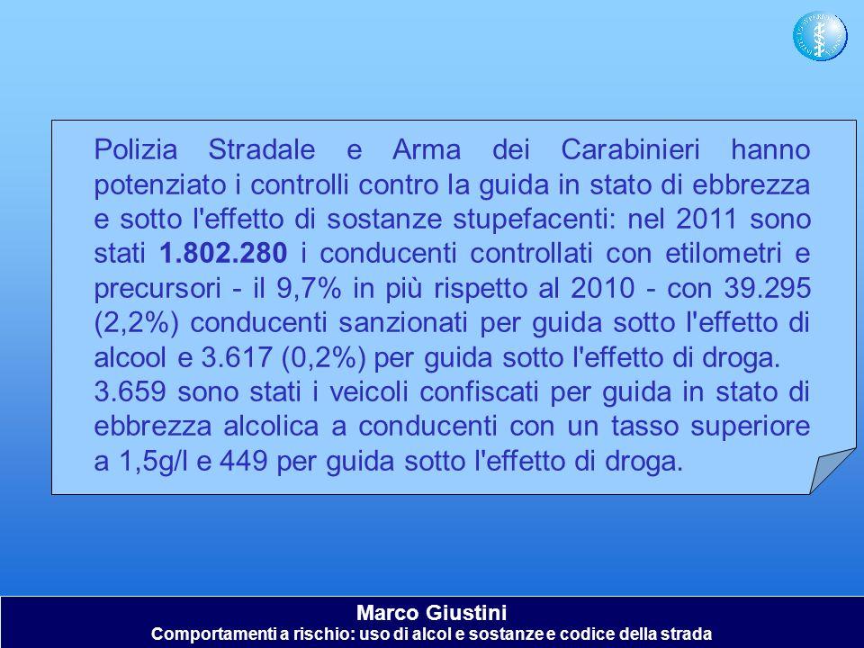 Marco Giustini Comportamenti a rischio: uso di alcol e sostanze e codice della strada Polizia Stradale e Arma dei Carabinieri hanno potenziato i contr