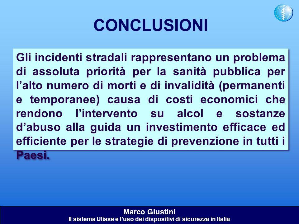 Marco Giustini Il sistema Ulisse e luso dei dispositivi di sicurezza in Italia CONCLUSIONI Gli incidenti stradali rappresentano un problema di assolut