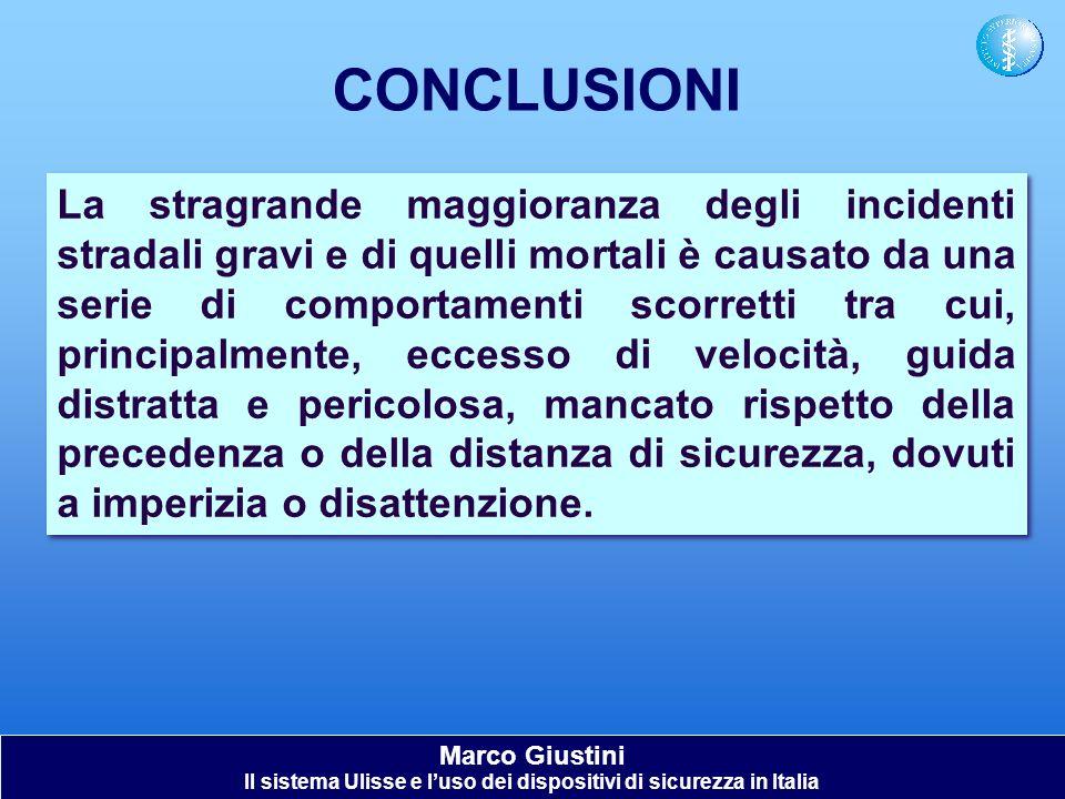 Marco Giustini Il sistema Ulisse e luso dei dispositivi di sicurezza in Italia CONCLUSIONI La stragrande maggioranza degli incidenti stradali gravi e
