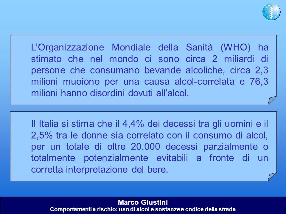 Marco Giustini Comportamenti a rischio: uso di alcol e sostanze e codice della strada LOrganizzazione Mondiale della Sanità (WHO) ha stimato che nel m