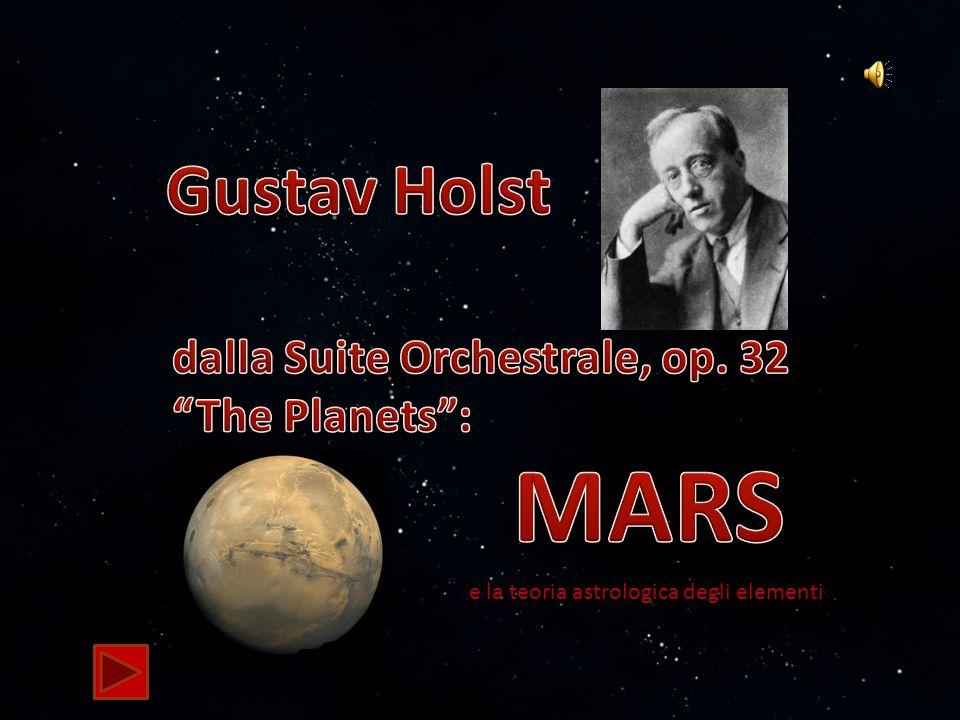 Holst: MARS - Mafalda Baccaro2/42 Gustav Holst, compositore inglese (1874 – 1934), compose la Suite Orchestrale The Planets, la sua opera più amata e apprezzata, ispirato dai suoi interessi per lASTROLOGIA, occidentale e indianaASTROLOGIAindiana lASTRONOMIA eASTRONOMIA la TEOFISICA.TEOFISICA A questi interessi, Holst aggiunse le sue conoscenze della Mitologia e dellArte.MitologiaArte Il primo brano della Suite è certamente il più noto e imitato ed è dedicato al pianeta MARTE.