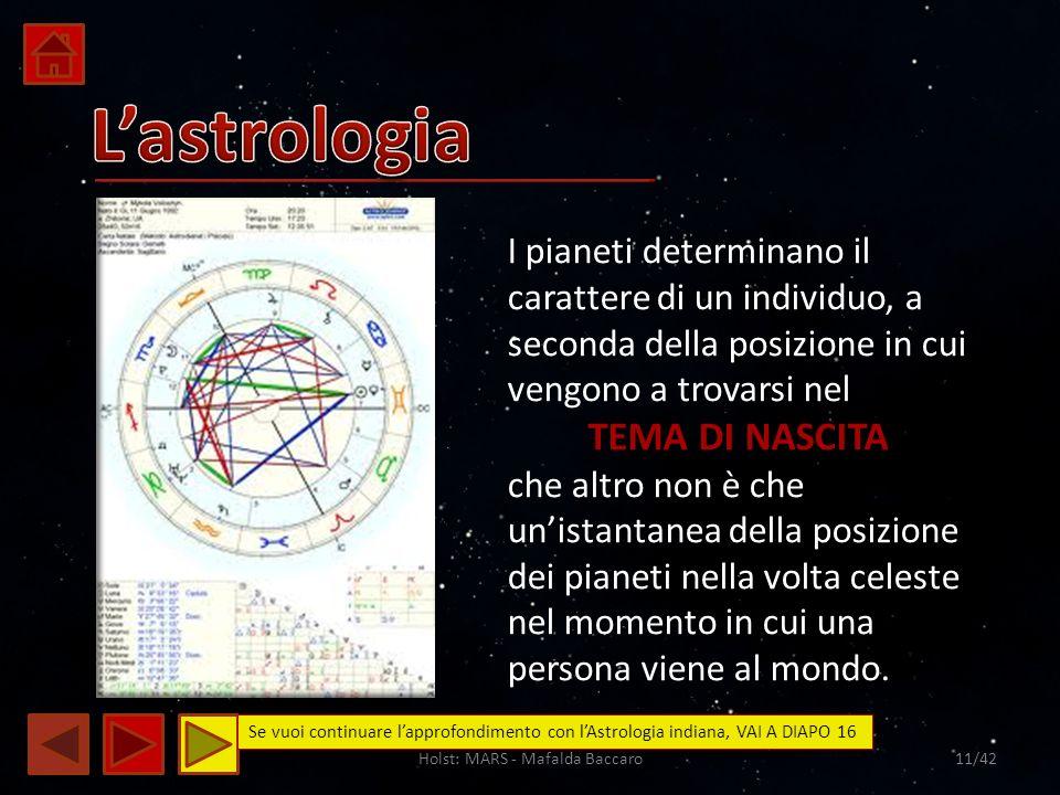 Holst: MARS - Mafalda Baccaro11/42 I pianeti determinano il carattere di un individuo, a seconda della posizione in cui vengono a trovarsi nel TEMA DI