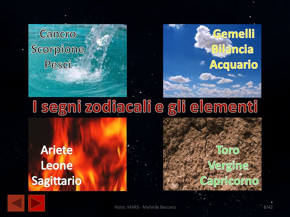 Holst: MARS - Mafalda Baccaro9/42 Ad ogni elemento corrispondono differenti caratteri: Intelletto Capacità di comunicare Desiderio Energia creativa Risorse materiali Senso di possesso Immaginazione Sentimentalismo