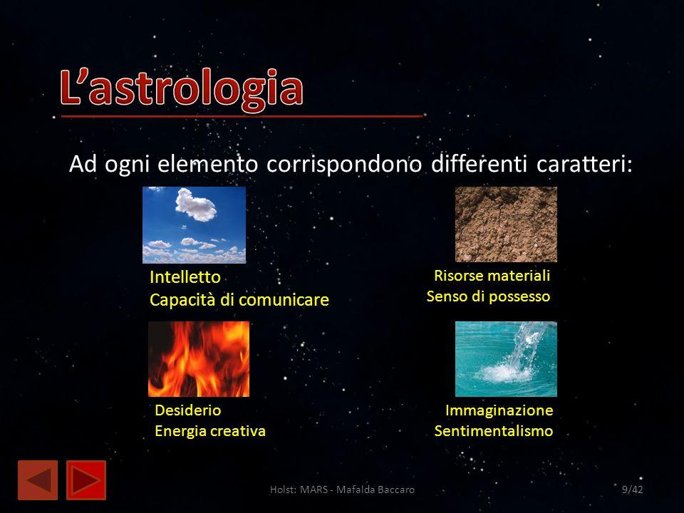 Holst: MARS - Mafalda Baccaro9/42 Ad ogni elemento corrispondono differenti caratteri: Intelletto Capacità di comunicare Desiderio Energia creativa Ri