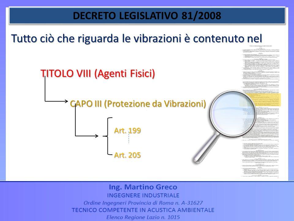 Tutto ciò che riguarda le vibrazioni è contenuto nel TITOLO VIII (Agenti Fisici) CAPO III (Protezione da Vibrazioni) Art. 199 Art. 199 Art. 205 Art. 2