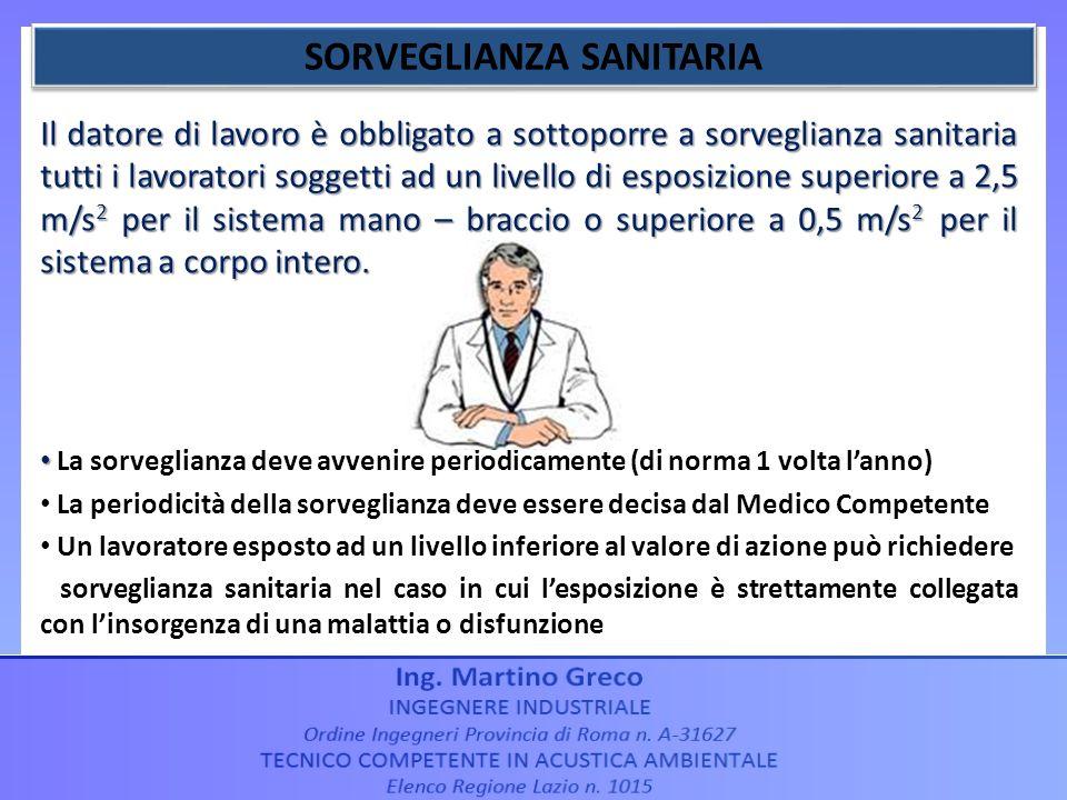 Il datore di lavoro è obbligato a sottoporre a sorveglianza sanitaria tutti i lavoratori soggetti ad un livello di esposizione superiore a 2,5 m/s 2 p