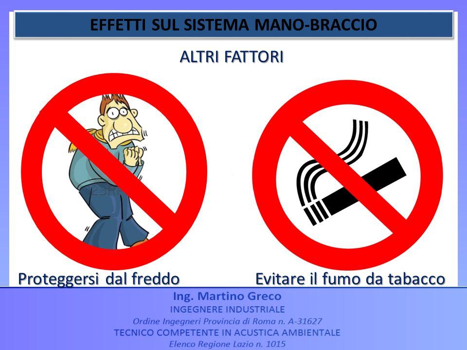 ALTRI FATTORI Proteggersi dal freddo Evitare il fumo da tabacco
