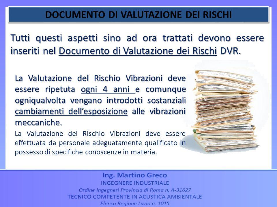 Tutti questi aspetti sino ad ora trattati devono essere inseriti nel Documento di Valutazione dei Rischi DVR. La Valutazione del Rischio Vibrazioni de