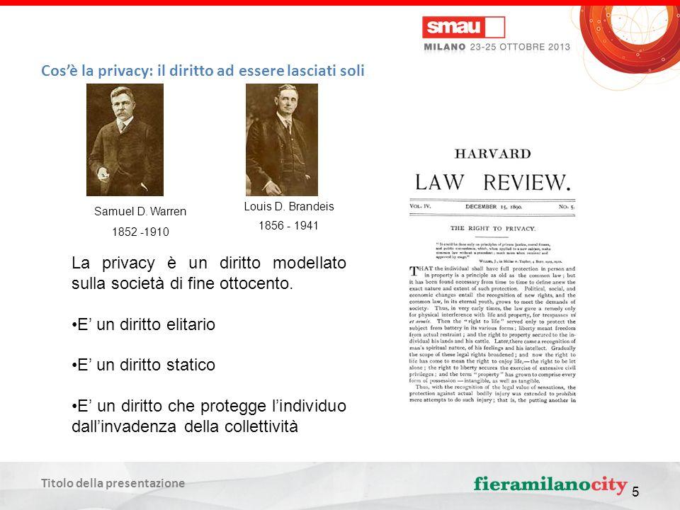 Titolo della presentazione 5 Cosè la privacy: il diritto ad essere lasciati soli La privacy è un diritto modellato sulla società di fine ottocento.