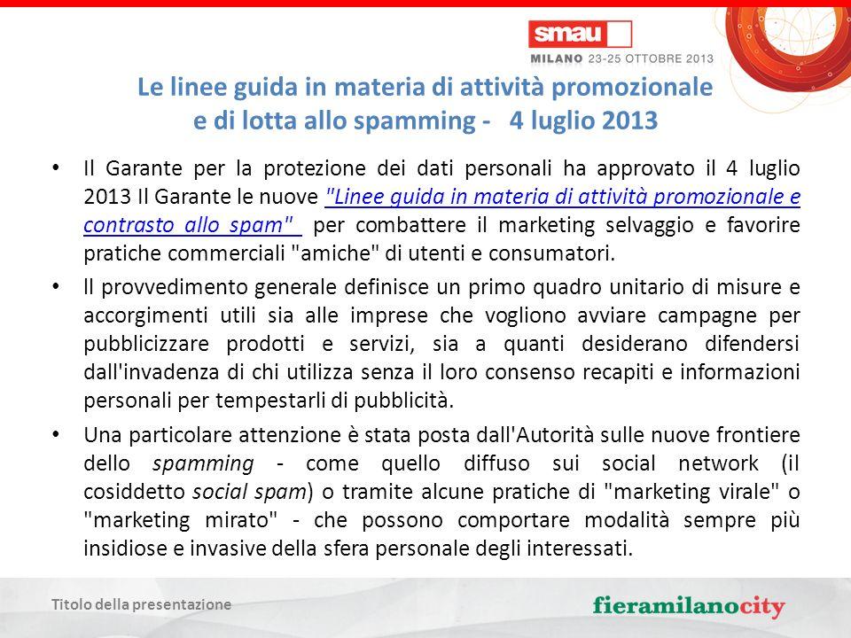 Titolo della presentazione Le linee guida in materia di attività promozionale e di lotta allo spamming - 4 luglio 2013 Offerte commerciali e spam Invio di offerte commerciali solo con il consenso preventivo.