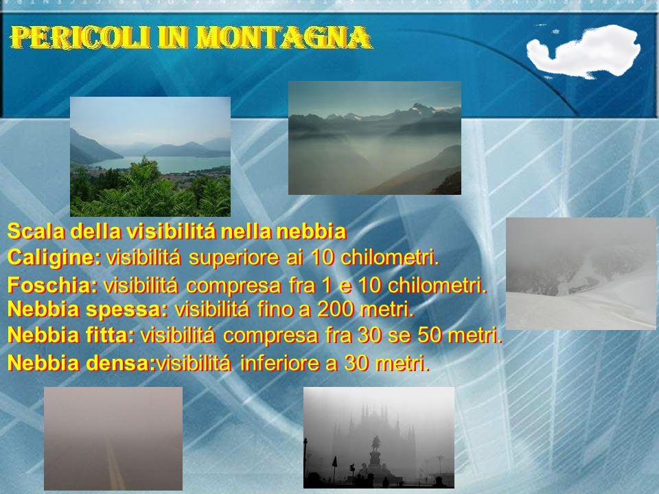 Scala della visibilitá nella nebbia Caligine: visibilitá superiore ai 10 chilometri. Foschia: visibilitá compresa fra 1 e 10 chilometri. Nebbia spessa