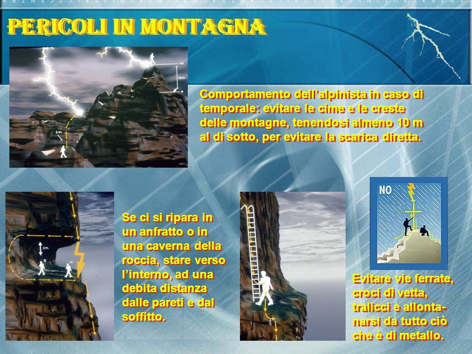 Comportamento dellalpinista in caso di temporale: evitare le cime e le creste delle montagne, tenendosi almeno 10 m al di sotto, per evitare la scarica diretta.
