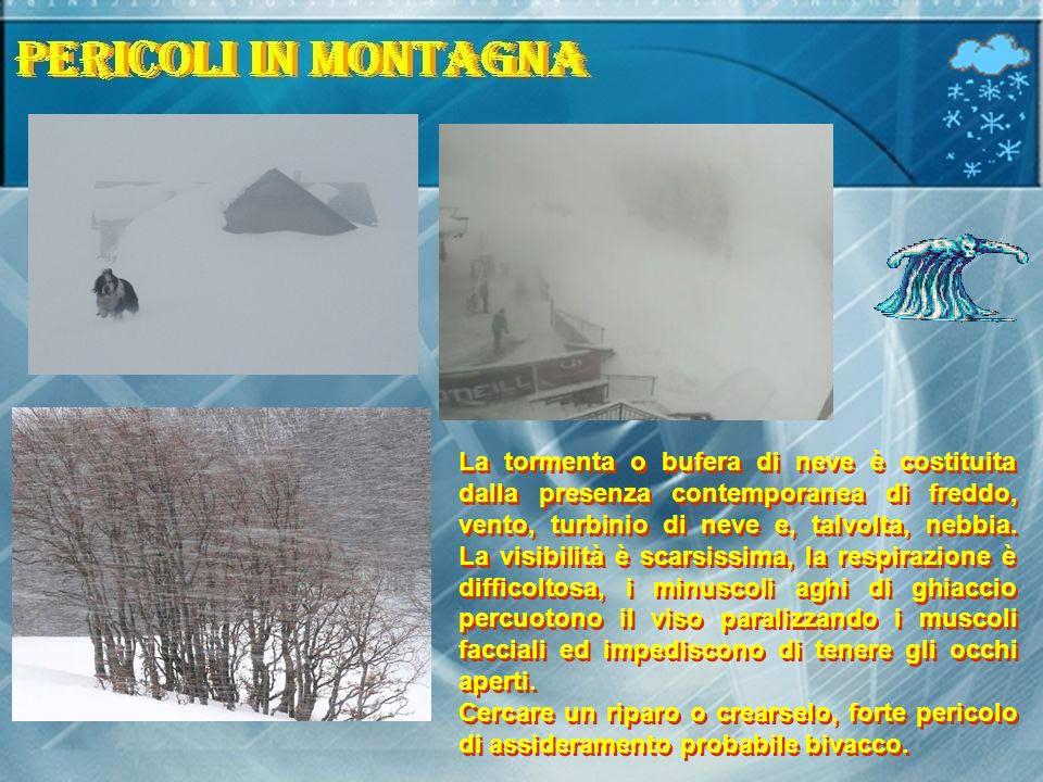 La tormenta o bufera di neve è costituita dalla presenza contemporanea di freddo, vento, turbinio di neve e, talvolta, nebbia. La visibilità è scarsis