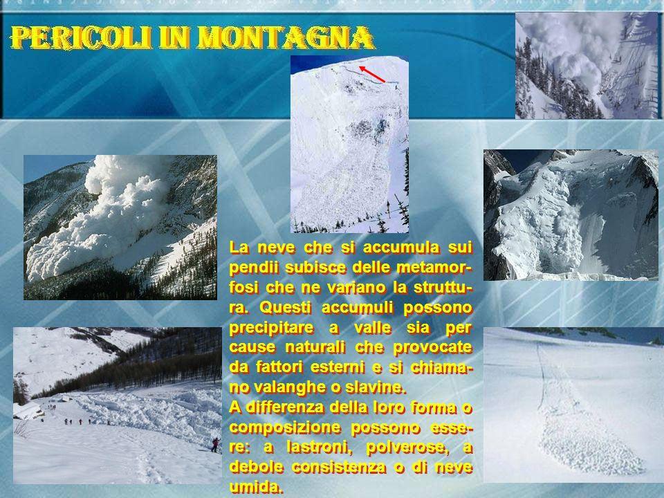 La neve che si accumula sui pendii subisce delle metamor- fosi che ne variano la struttu- ra. Questi accumuli possono precipitare a valle sia per caus