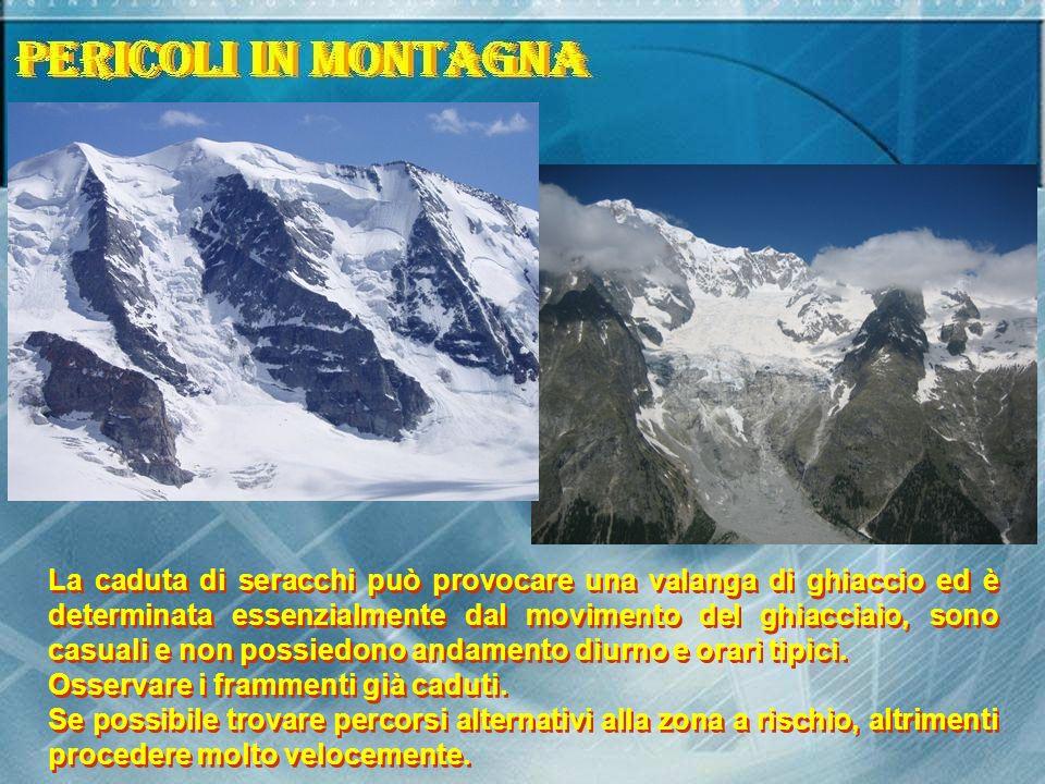 La caduta di seracchi può provocare una valanga di ghiaccio ed è determinata essenzialmente dal movimento del ghiacciaio, sono casuali e non possiedon