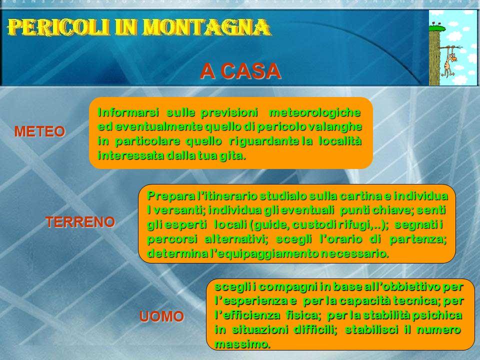 A CASA Informarsi sulle previsioni meteorologiche ed eventualmente quello di pericolo valanghe in particolare quello riguardante la località interessa