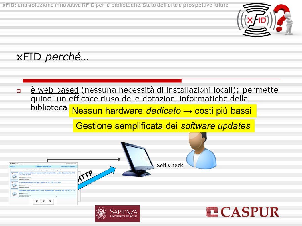 xFID perché… è web based (nessuna necessità di installazioni locali); permette quindi un efficace riuso delle dotazioni informatiche della biblioteca