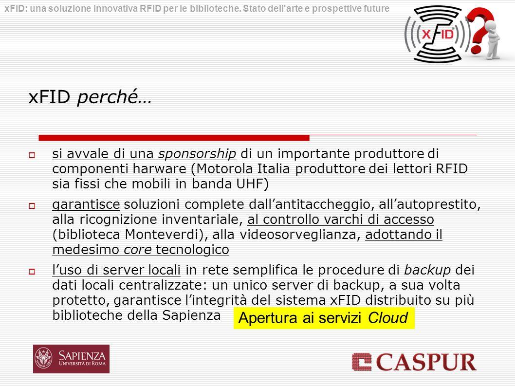 xFID perché… si avvale di una sponsorship di un importante produttore di componenti harware (Motorola Italia produttore dei lettori RFID sia fissi che