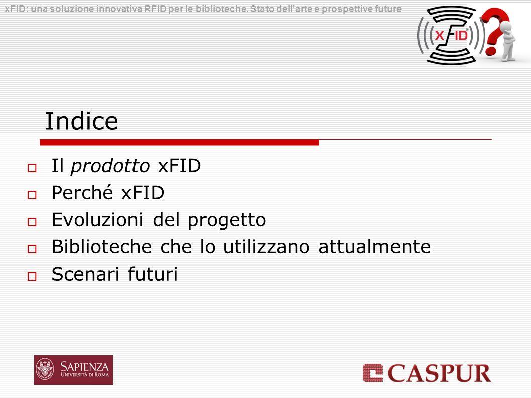 Indice Il prodotto xFID Perché xFID Evoluzioni del progetto Biblioteche che lo utilizzano attualmente Scenari futuri xFID: una soluzione innovativa RF