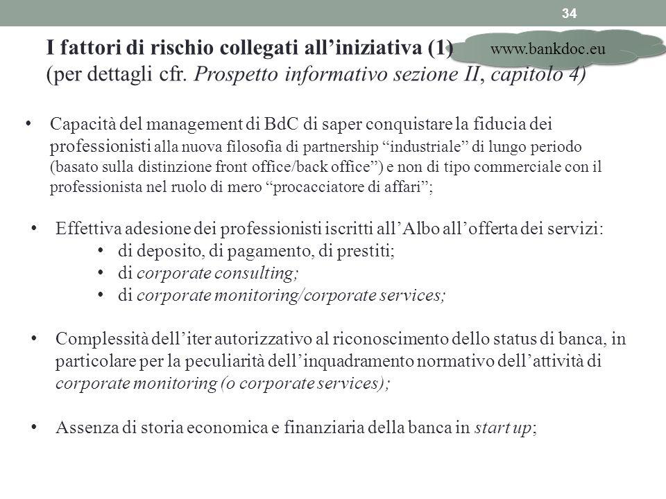 www.bankdoc.eu 34 I fattori di rischio collegati alliniziativa (1) (per dettagli cfr. Prospetto informativo sezione II, capitolo 4) Effettiva adesione