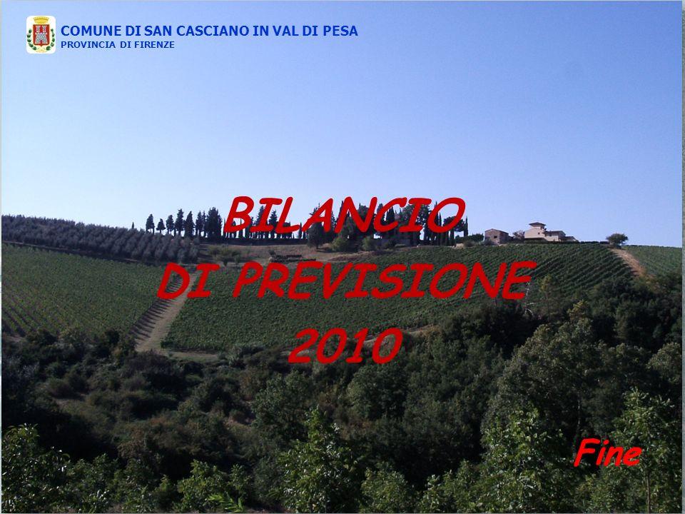 COMUNE DI SAN CASCIANO IN VAL DI PESA PROVINCIA DI FIRENZE BILANCIO DI PREVISIONE 2010 COMUNE DI SAN CASCIANO IN VAL DI PESA PROVINCIA DI FIRENZE Fine