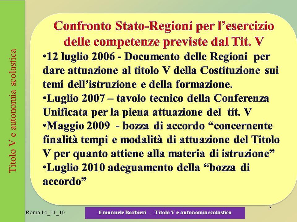 Roma 14_11_10 Emanuele Barbieri - Titolo V e autonomia scolastica 4 Titolo V e autonomia scolastica