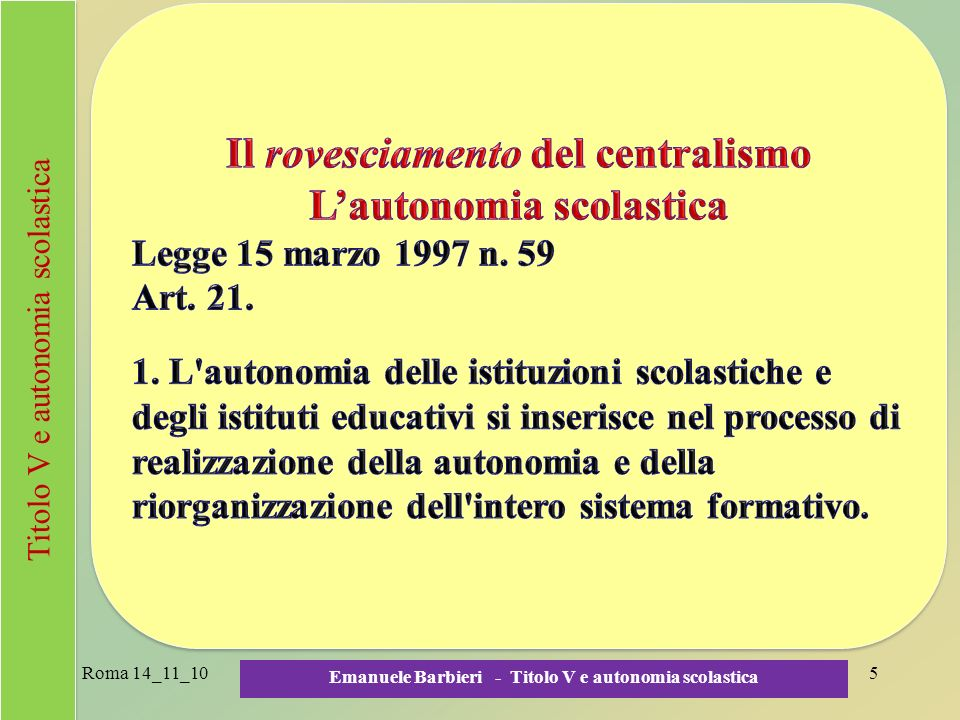 Roma 14_11_10 Emanuele Barbieri - Titolo V e autonomia scolastica 5 Titolo V e autonomia scolastica