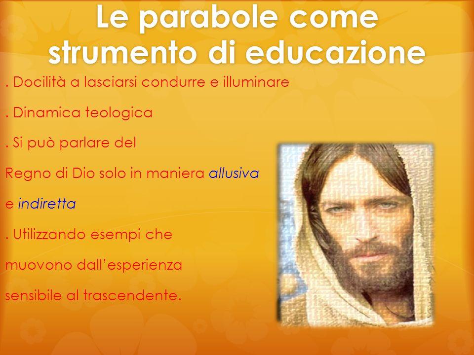 Le parabole come strumento di educazione. Docilità a lasciarsi condurre e illuminare. Dinamica teologica. Si può parlare del Regno di Dio solo in mani