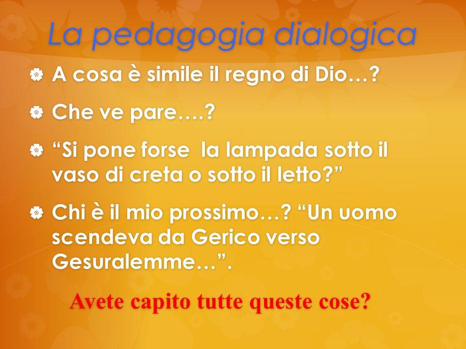 La pedagogia dialogica A cosa è simile il regno di Dio…? Che ve pare….? Si pone forse la lampada sotto il vaso di creta o sotto il letto? Chi è il mio
