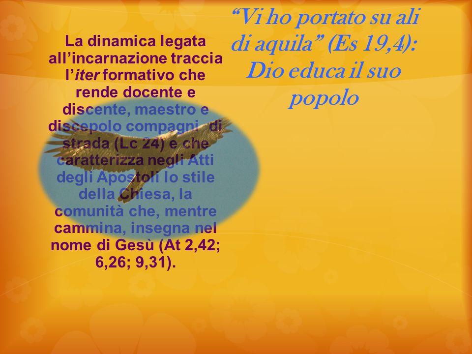 Vi ho portato su ali di aquila (Es 19,4): Dio educa il suo popolo La dinamica legata allincarnazione traccia liter formativo che rende docente e disce