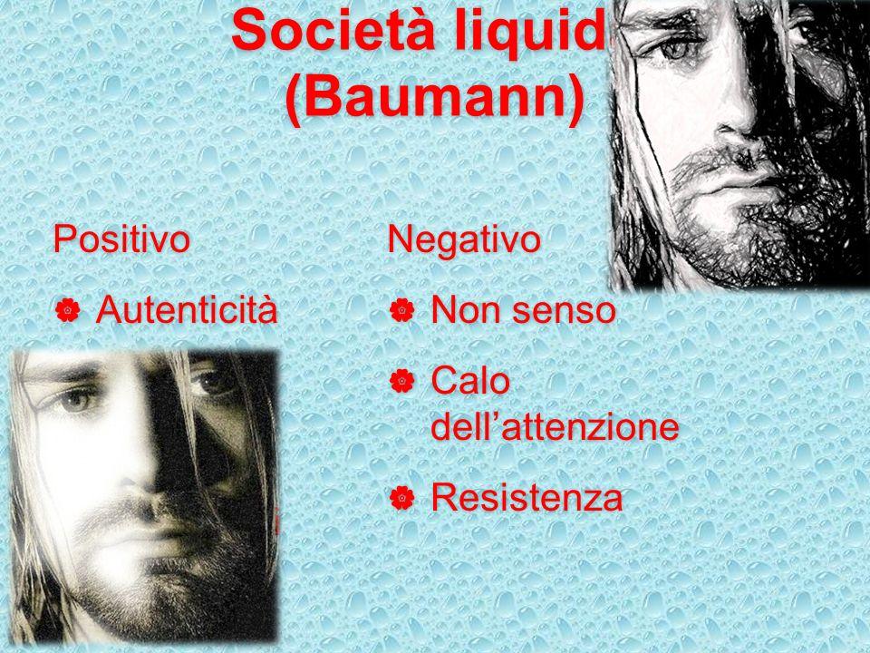 Società liquida (Baumann) Positivo Autenticità Libertà Wellness Sentimenti Negativo Non senso Calo dellattenzione Resistenza