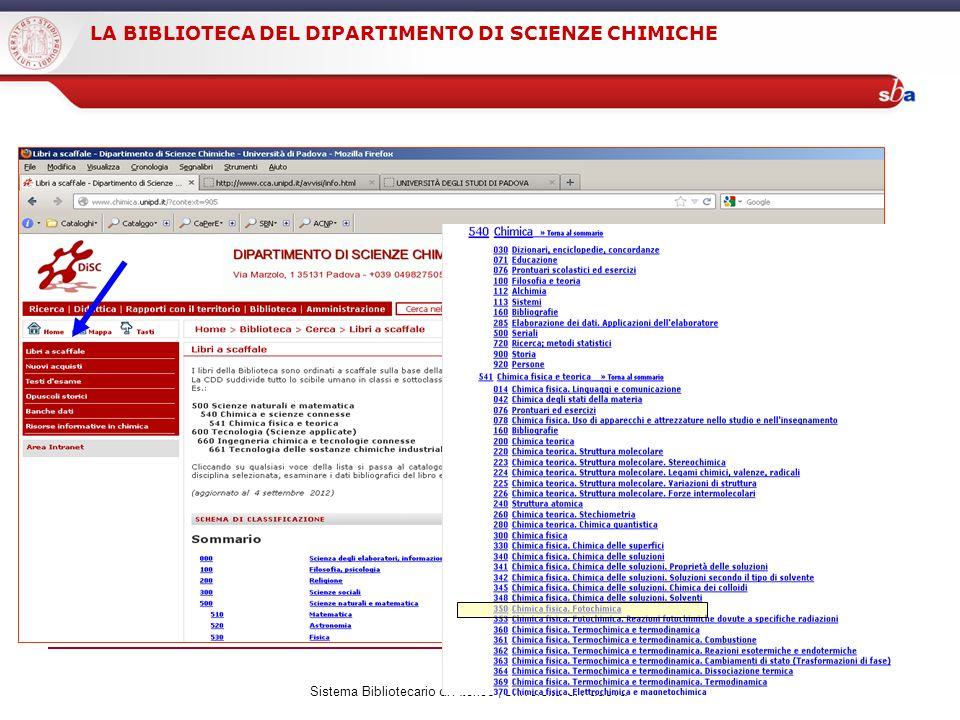 Sistema Bibliotecario di Ateneo | Università di Padova LA BIBLIOTECA DEL DIPARTIMENTO DI SCIENZE CHIMICHE