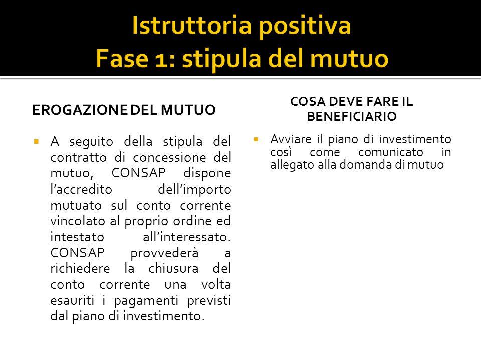 EROGAZIONE DEL MUTUO A seguito della stipula del contratto di concessione del mutuo, CONSAP dispone laccredito dellimporto mutuato sul conto corrente