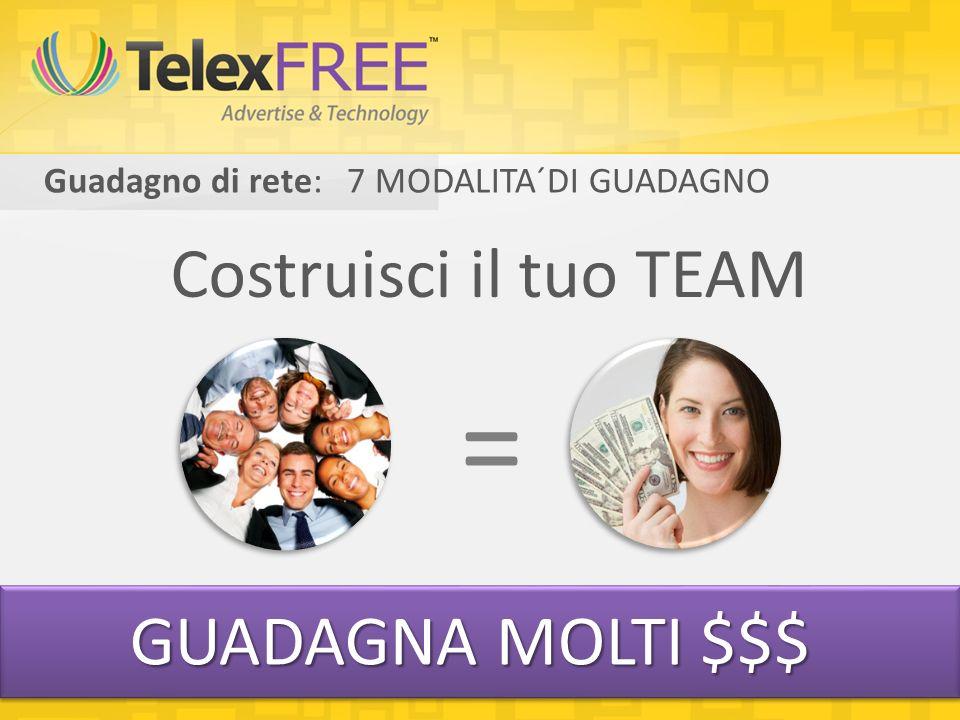 Guadagno di rete: 7 MODALITA´DI GUADAGNO Costruisci il tuo TEAM = GUADAGNA MOLTI $$$