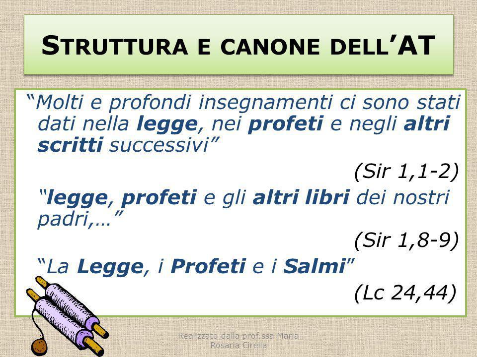 S TRUTTURA E CANONE DELL AT Molti e profondi insegnamenti ci sono stati dati nella legge, nei profeti e negli altri scritti successivi (Sir 1,1-2) leg