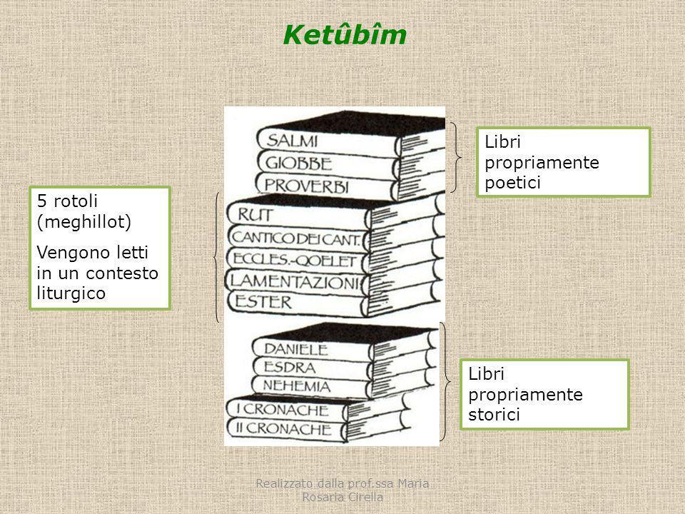 Ketûbîm Libri propriamente poetici 5 rotoli (meghillot) Vengono letti in un contesto liturgico Libri propriamente storici Realizzato dalla prof.ssa Ma