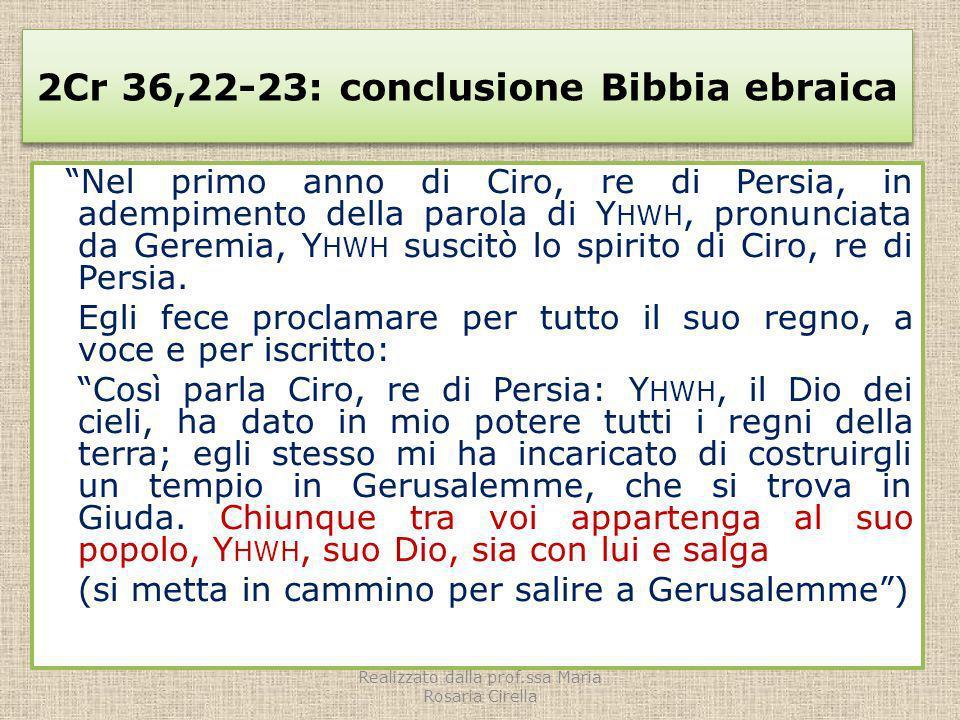2Cr 36,22-23: conclusione Bibbia ebraica Nel primo anno di Ciro, re di Persia, in adempimento della parola di Y HWH, pronunciata da Geremia, Y HWH sus