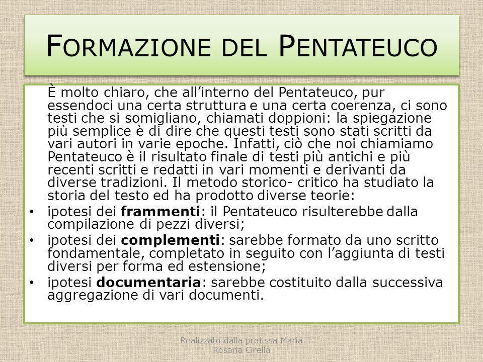 F ORMAZIONE DEL P ENTATEUCO È molto chiaro, che allinterno del Pentateuco, pur essendoci una certa struttura e una certa coerenza, ci sono testi che s