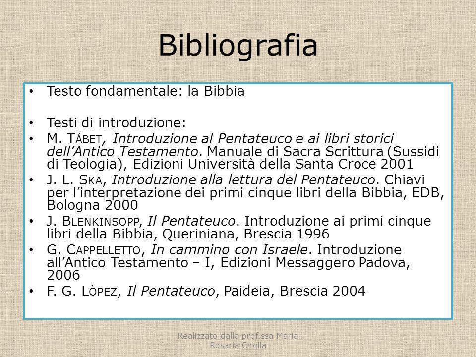 Bibliografia Testo fondamentale: la Bibbia Testi di introduzione: M. T ÁBET, Introduzione al Pentateuco e ai libri storici dellAntico Testamento. Manu