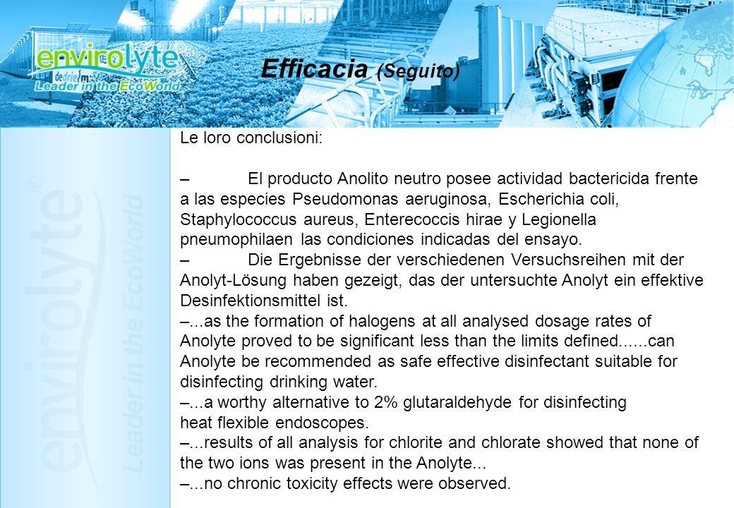 Efficacia (Seguito) Le loro conclusioni: –El producto Anolito neutro posee actividad bactericida frente a las especies Pseudomonas aeruginosa, Escheri