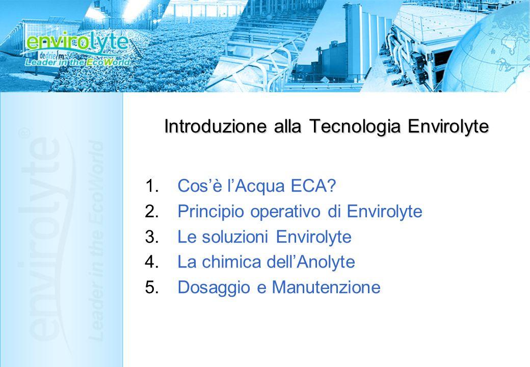 Introduzione alla Tecnologia Envirolyte 1.Cosè lAcqua ECA? 2.Principio operativo di Envirolyte 3.Le soluzioni Envirolyte 4.La chimica dellAnolyte 5.Do
