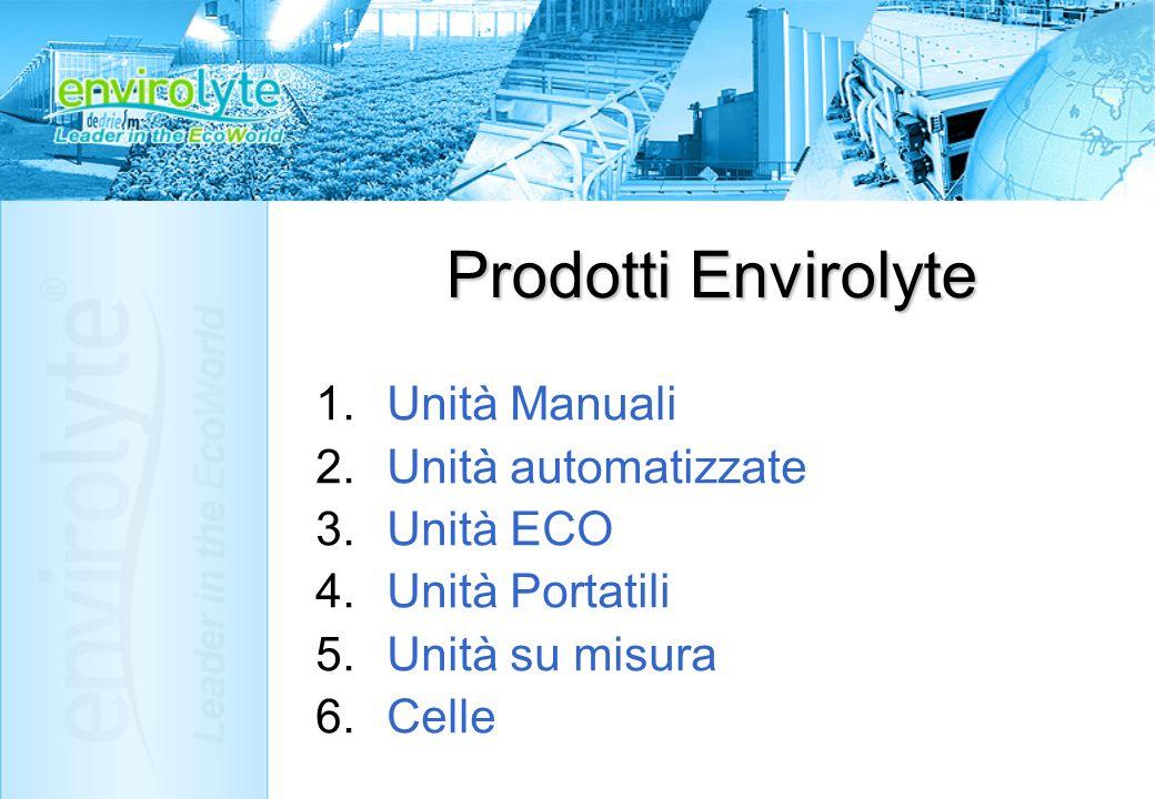 Prodotti Envirolyte 1.Unità Manuali 2.Unità automatizzate 3.Unità ECO 4.Unità Portatili 5.Unità su misura 6.Celle