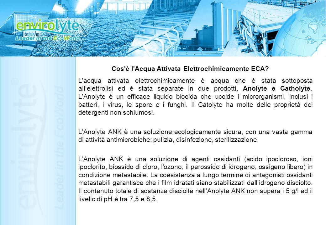 Principio operativo di ECA di Envirolyte ECA è basata su di una nuova, e precedentemente sconosciuta, legge di anomali cambi di reazione e capacità catalitiche delle soluzioni acquose soggette a trattamenti elettrochimici unipolari (sia catodici che anodici).