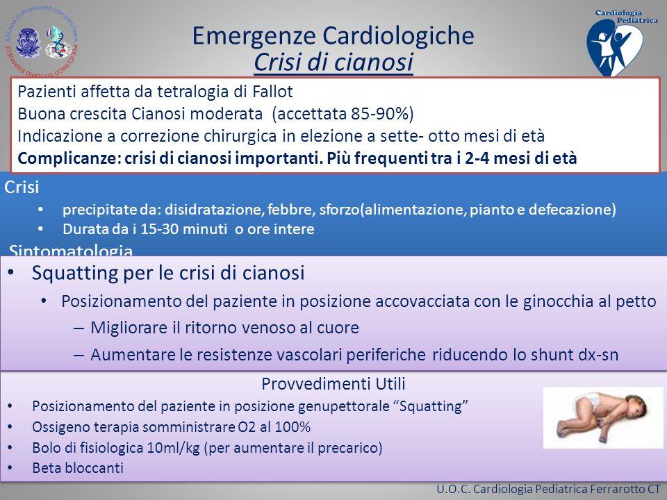 U.O.C. Cardiologia Pediatrica Ferrarotto CT Crisi precipitate da: disidratazione, febbre, sforzo(alimentazione, pianto e defecazione) Durata da i 15-3