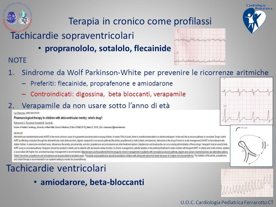 U.O.C. Cardiologia Pediatrica Ferrarotto CT Terapia in cronico come profilassi Tachicardie sopraventricolari propranololo, sotalolo, flecainide NOTE 1