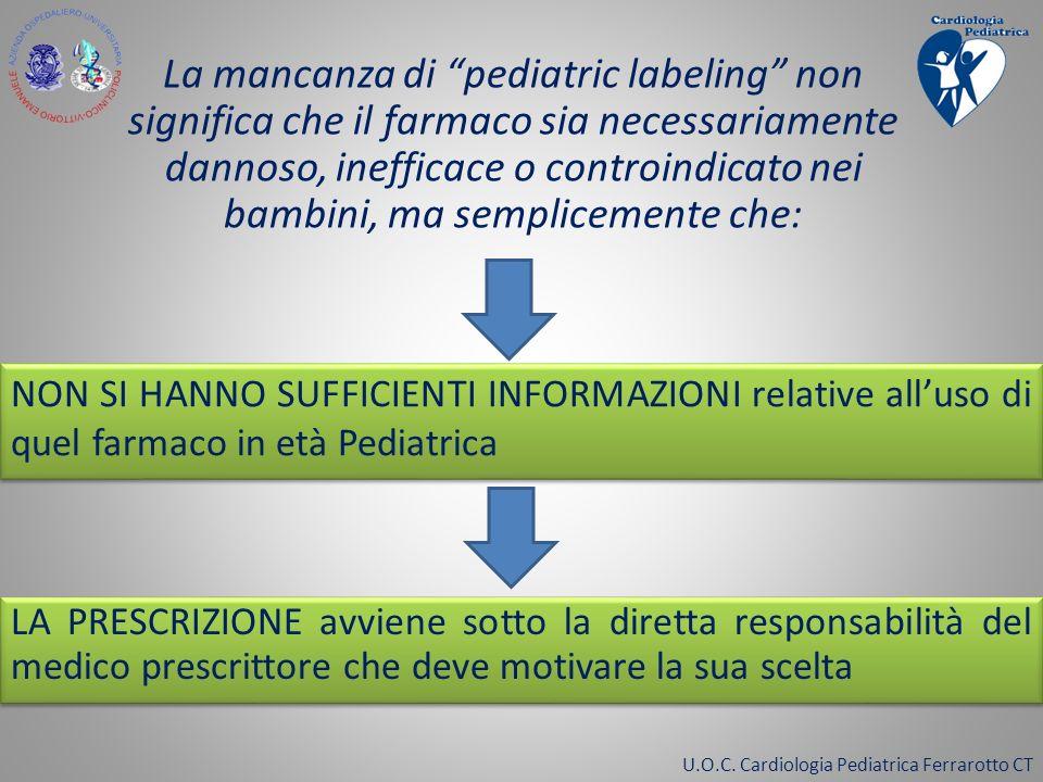U.O.C. Cardiologia Pediatrica Ferrarotto CT La mancanza di pediatric labeling non significa che il farmaco sia necessariamente dannoso, inefficace o c