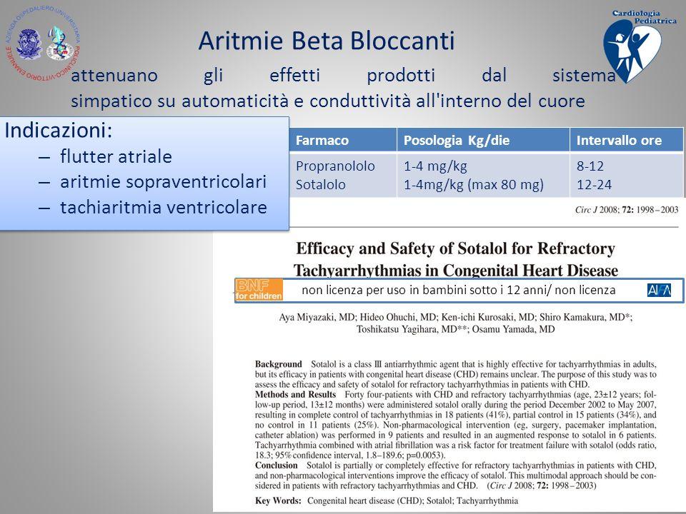 Aritmie Beta Bloccanti attenuano gli effetti prodotti dal sistema simpatico su automaticità e conduttività all'interno del cuore FarmacoPosologia Kg/d